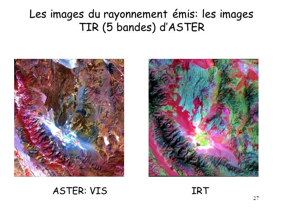 27 Les images du rayonnement émis: les images TIR (5 bandes) d'ASTER ASTER: VIS IRT