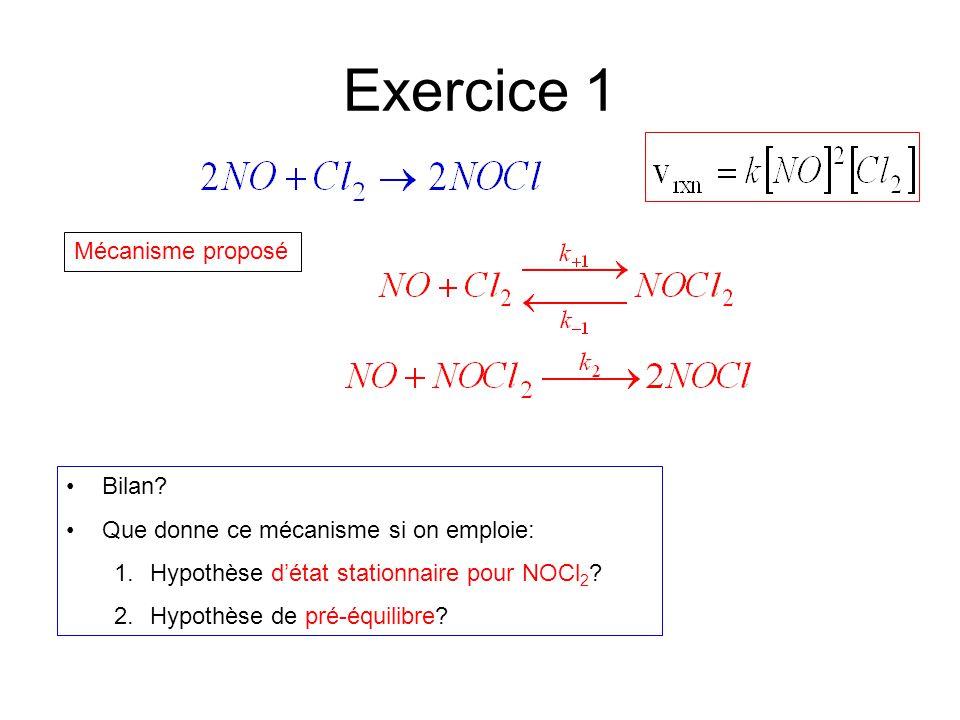 Exercice 1 Mécanisme proposé Bilan? Que donne ce mécanisme si on emploie: 1.Hypothèse d'état stationnaire pour NOCl 2 ? 2.Hypothèse de pré-équilibre?