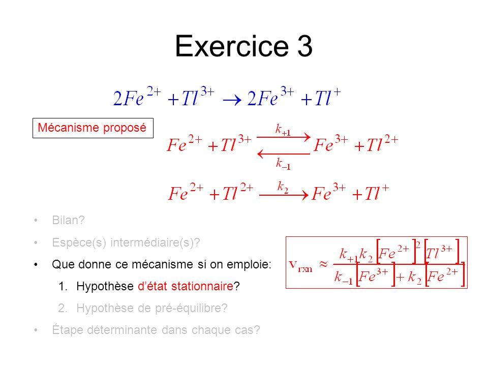 Exercice 3 Mécanisme proposé Bilan. Espèce(s) intermédiaire(s).