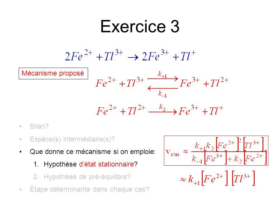 Exercice 3 Mécanisme proposé Bilan? Espèce(s) intermédiaire(s)? Que donne ce mécanisme si on emploie: 1.Hypothèse d'état stationnaire? 2.Hypothèse de