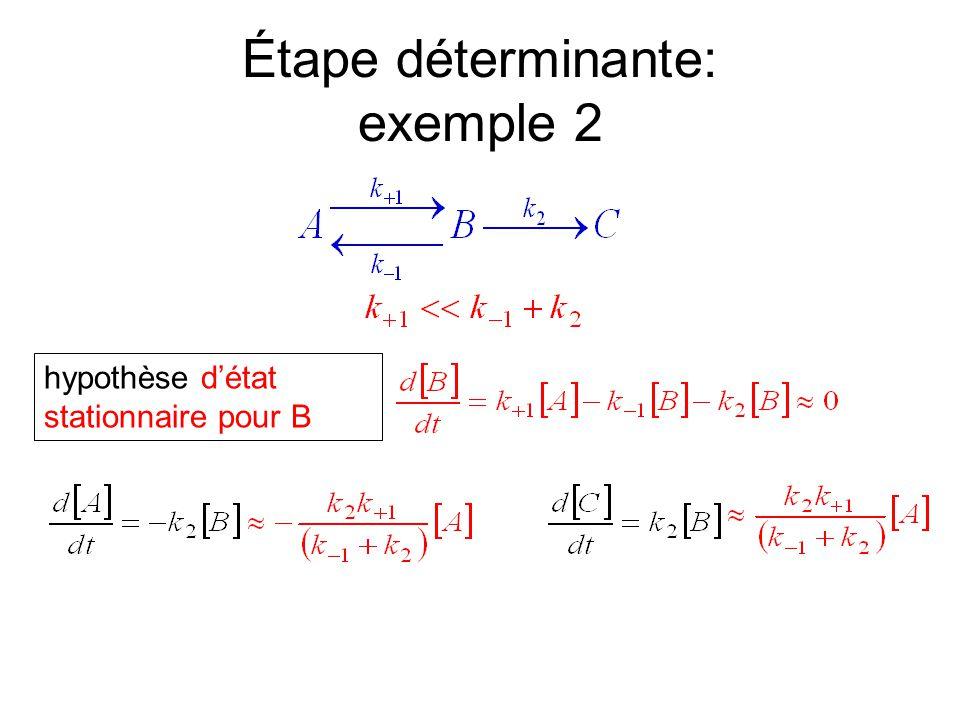Étape déterminante: exemple 2 hypothèse d'état stationnaire pour B