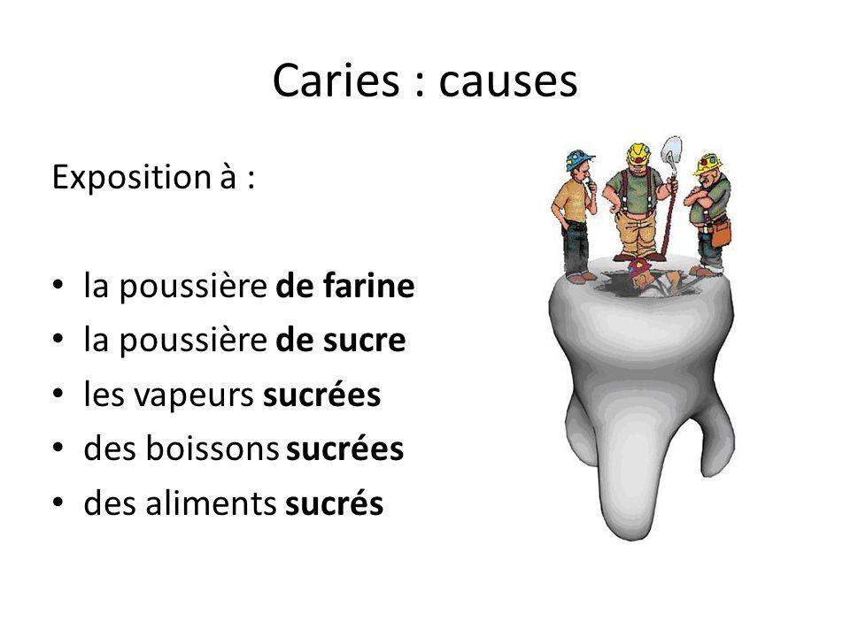 Caries : causes Exposition à : la poussière de farine la poussière de sucre les vapeurs sucrées des boissons sucrées des aliments sucrés