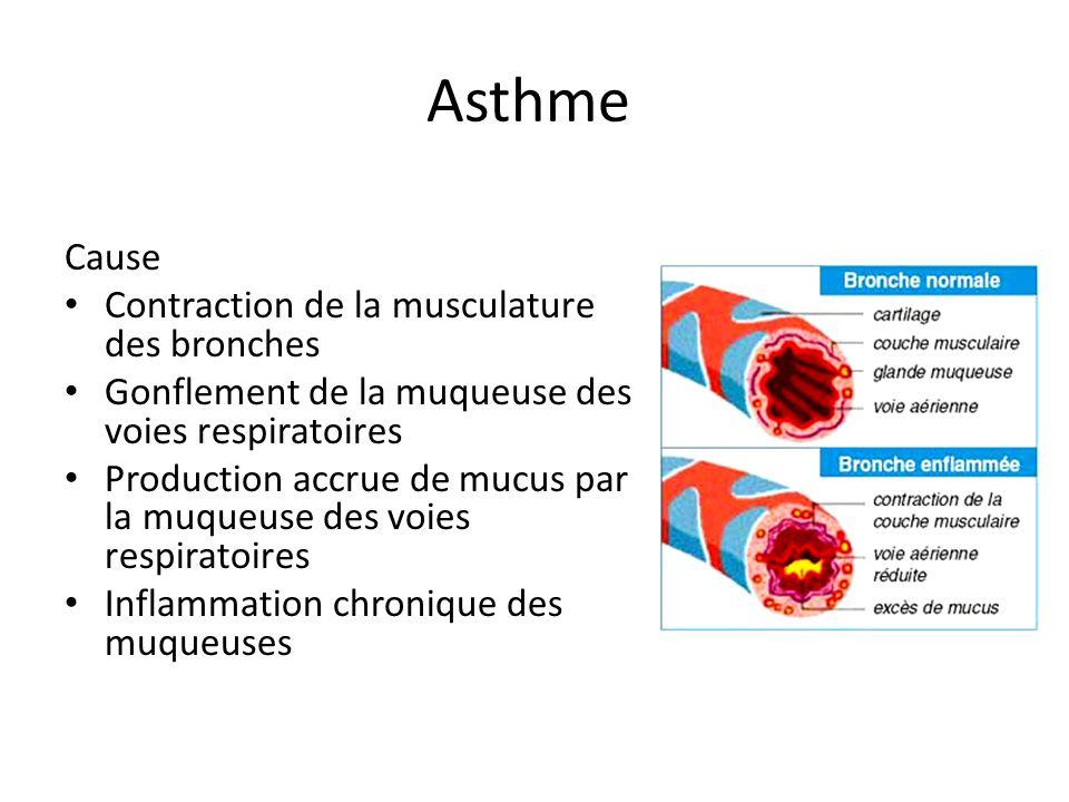 Asthme Cause Contraction de la musculature des bronches Gonflement de la muqueuse des voies respiratoires Production accrue de mucus par la muqueuse d