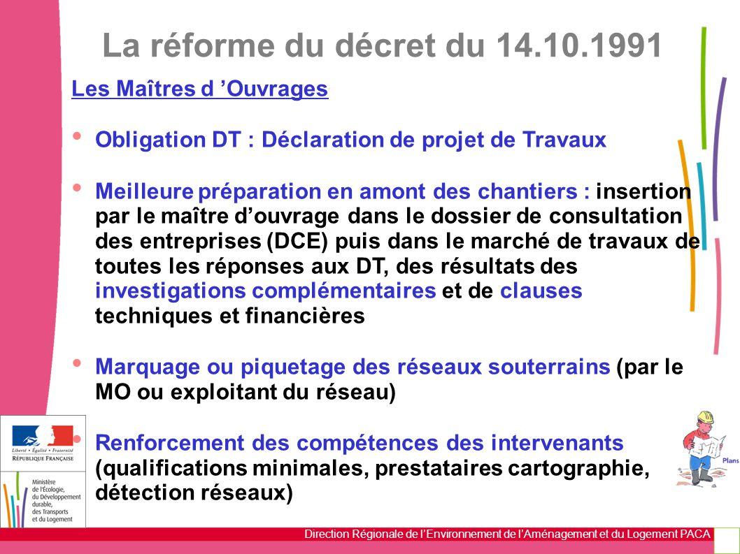 Direction Régionale de l'Environnement de l'Aménagement et du Logement PACA La réforme du décret du 14.10.1991 Les Maîtres d 'Ouvrages Obligation DT :