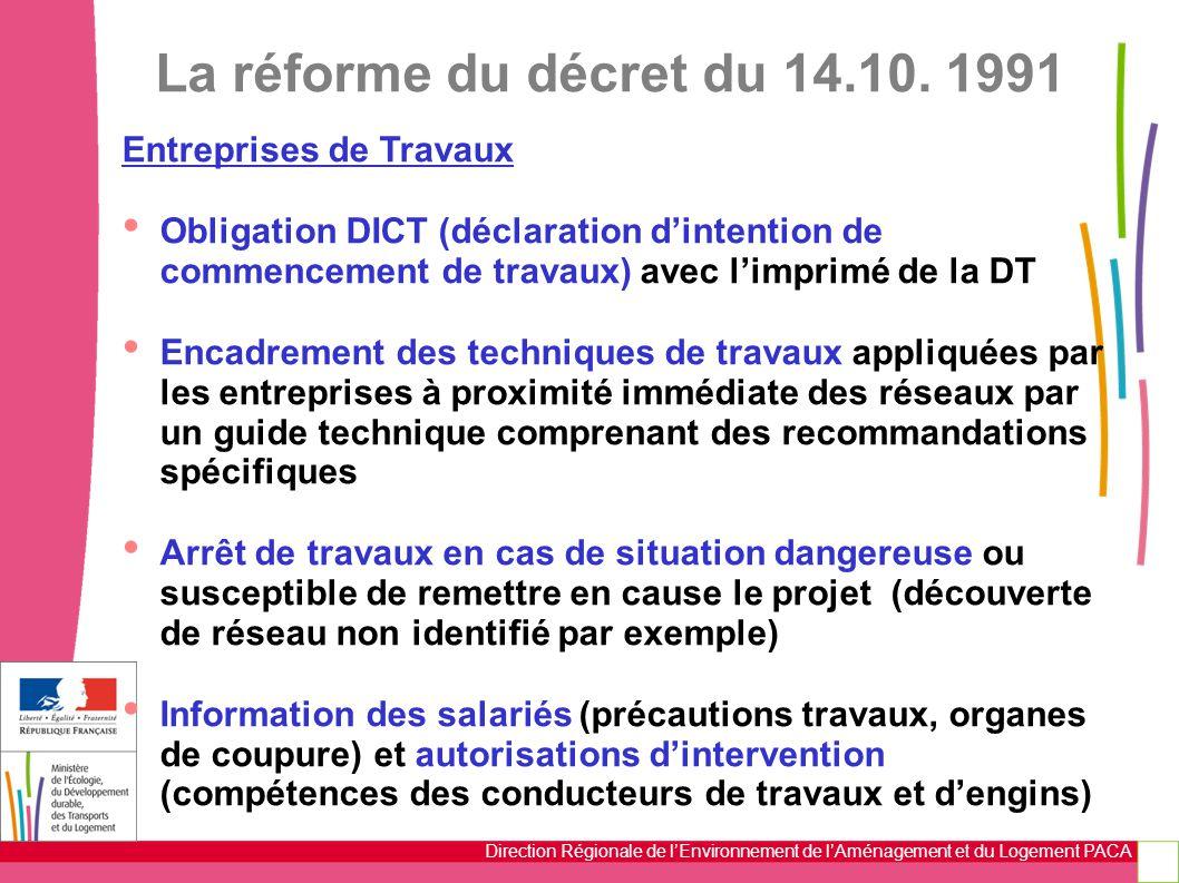 Direction Régionale de l'Environnement de l'Aménagement et du Logement PACA La réforme du décret du 14.10. 1991 Entreprises de Travaux Obligation DICT