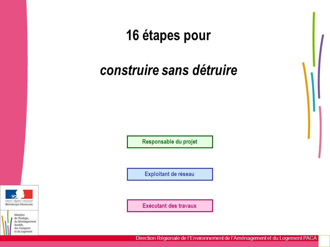 Direction Régionale de l'Environnement de l'Aménagement et du Logement PACA 16 étapes pour construire sans détruire Responsable du projet Exploitant d