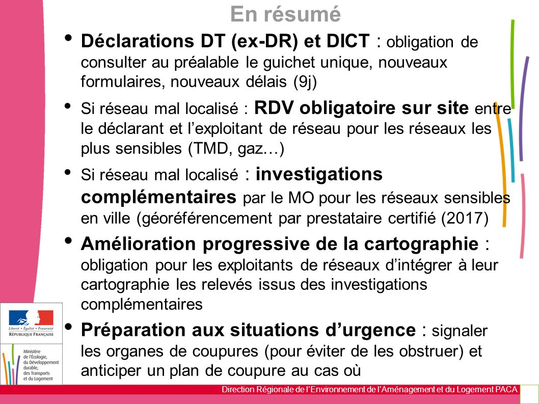 Direction Régionale de l'Environnement de l'Aménagement et du Logement PACA En résumé Déclarations DT (ex-DR) et DICT : obligation de consulter au pré
