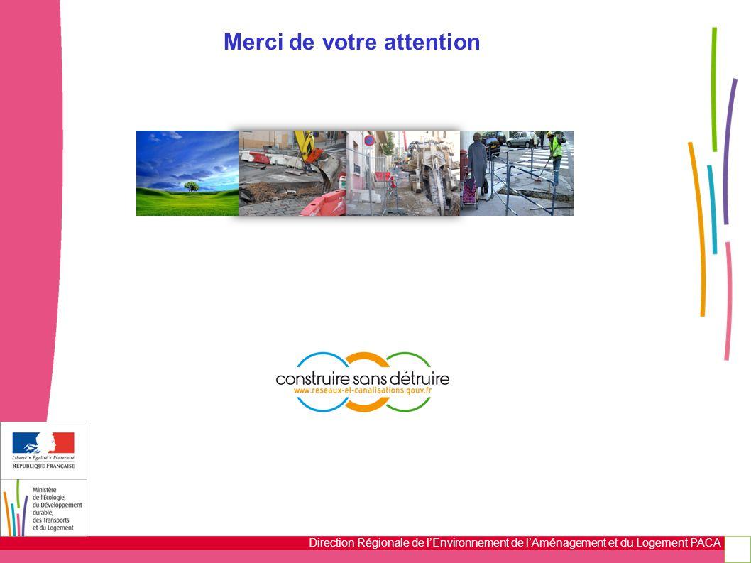 Direction Régionale de l'Environnement de l'Aménagement et du Logement PACA Merci de votre attention