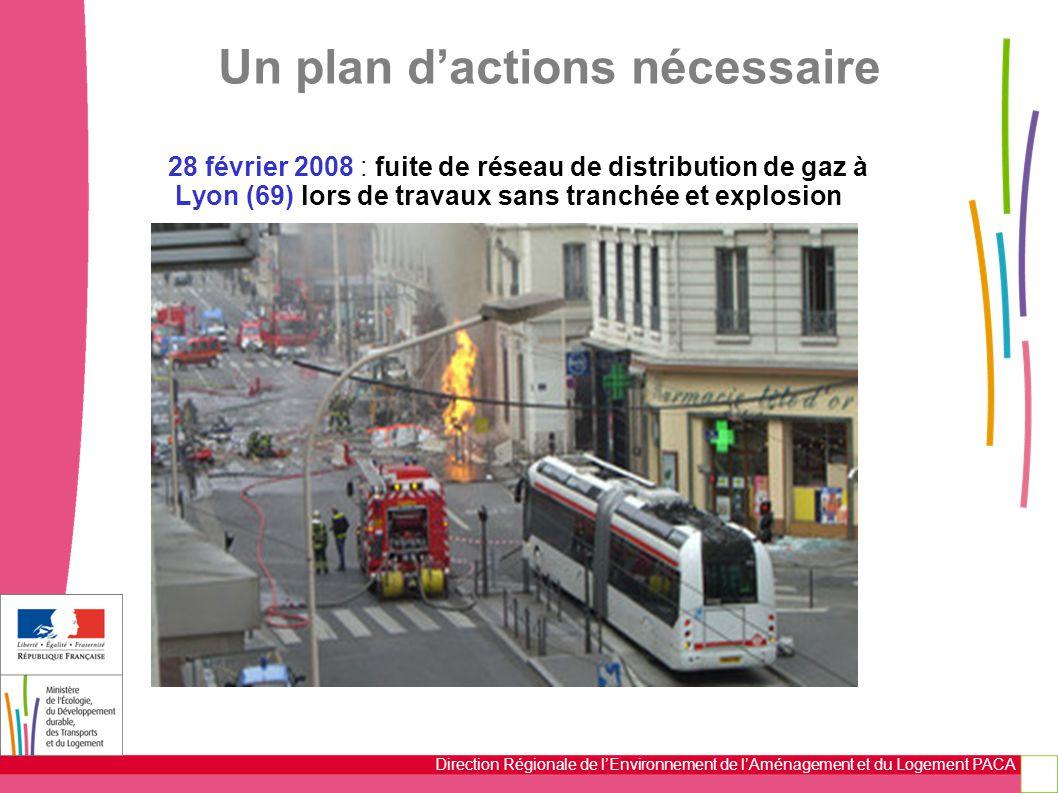 Direction Régionale de l'Environnement de l'Aménagement et du Logement PACA 28 février 2008 : fuite de réseau de distribution de gaz à Lyon (69) lors de travaux sans tranchée et explosion Un plan d'actions nécessaire
