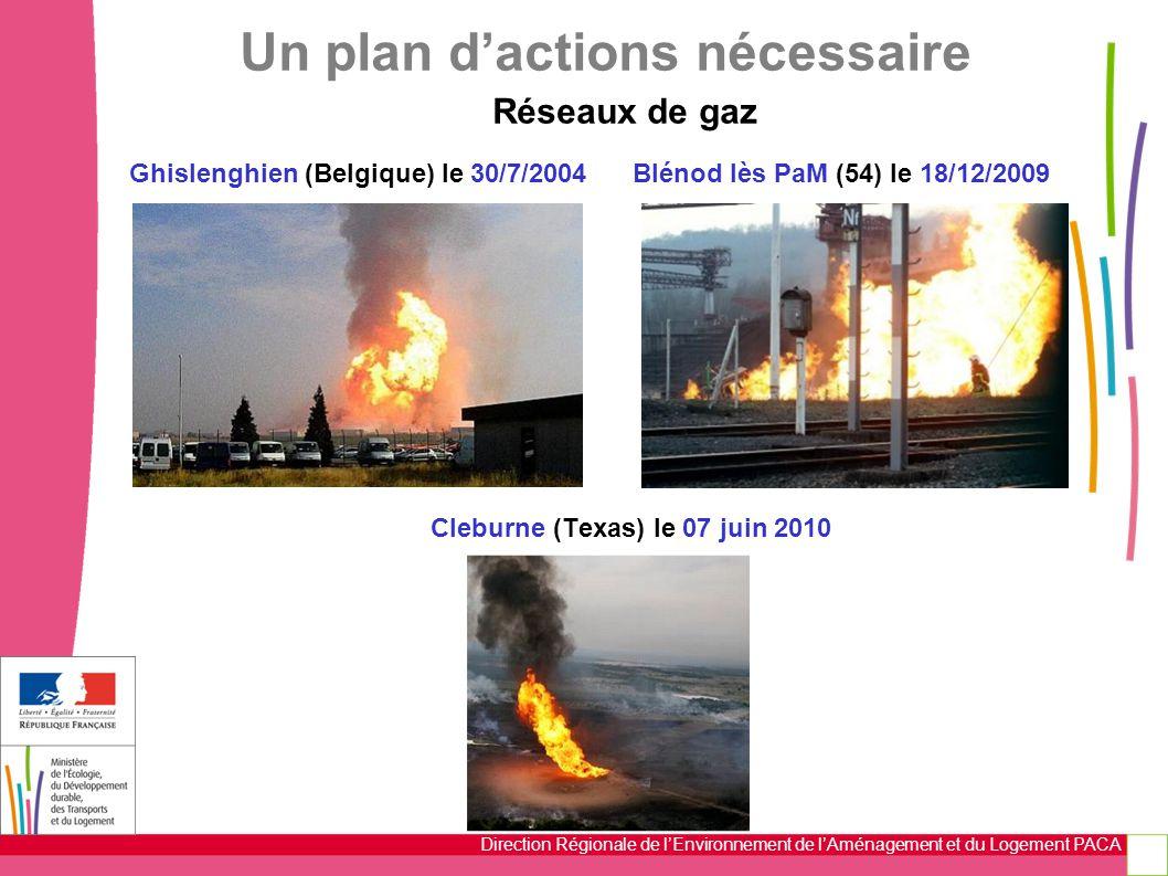 Direction Régionale de l'Environnement de l'Aménagement et du Logement PACA Ghislenghien (Belgique) le 30/7/2004 Blénod lès PaM (54) le 18/12/2009 Cleburne (Texas) le 07 juin 2010 Un plan d'actions nécessaire Réseaux de gaz