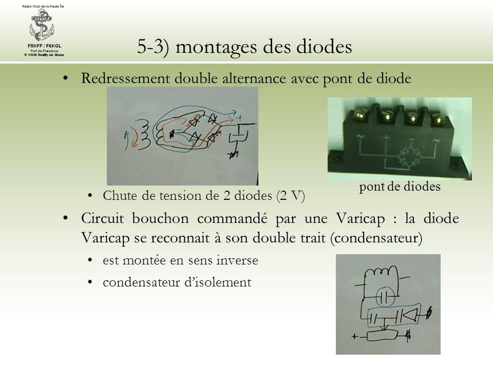 5-3) montages des diodes Stabilisation par diode Zener se reconnaît par son Z est montée en sens inverse Les autres diodes et leurs fonctions : les LED (diodes émettrices de lumière) utilisation d'une diode en commutation les diodes PIN : commutateurs HF les diodes Schottky : commutations très rapides les diodes Gunn : hyperfréquences Diode utilisée en commutateur