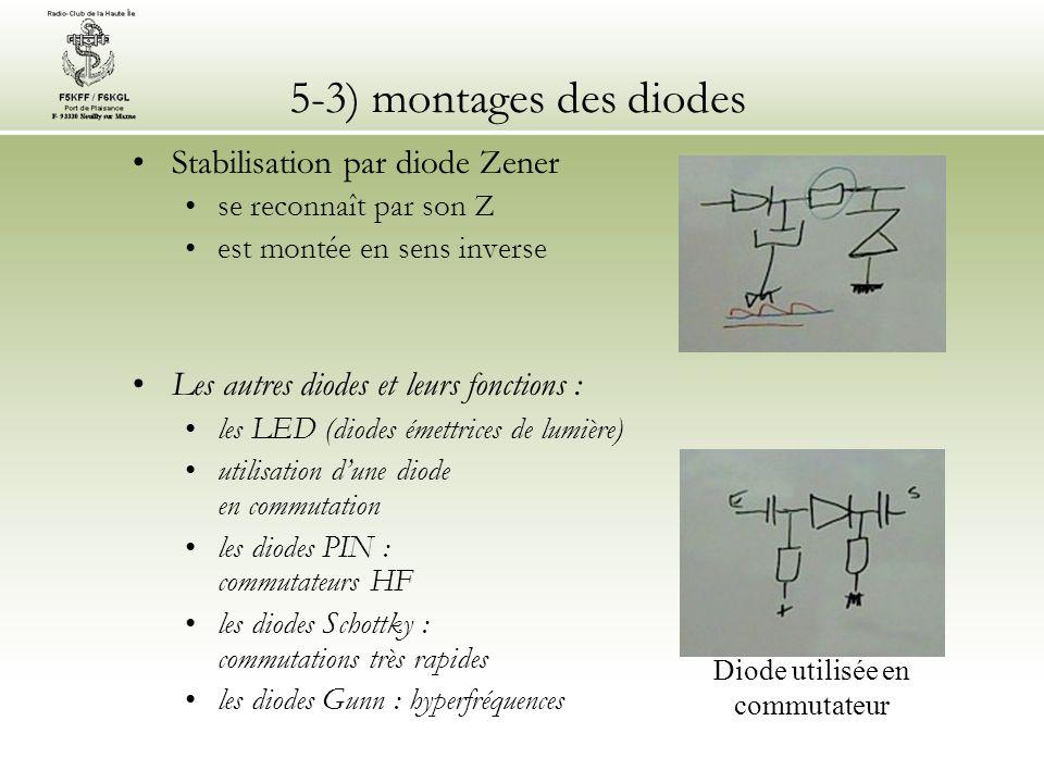 5-3) montages des diodes Stabilisation par diode Zener se reconnaît par son Z est montée en sens inverse Les autres diodes et leurs fonctions : les LE