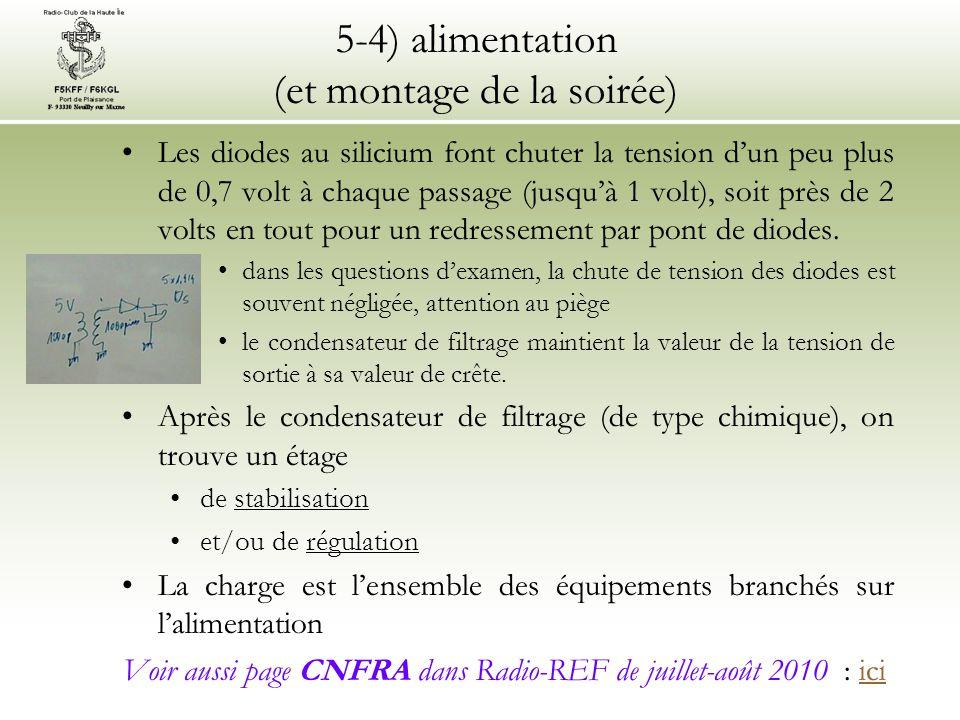 5-4) alimentation (et montage de la soirée) Les diodes au silicium font chuter la tension d'un peu plus de 0,7 volt à chaque passage (jusqu'à 1 volt),