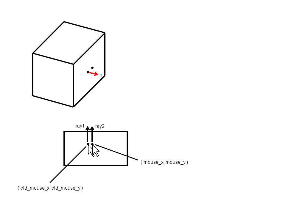 ( old_mouse_x, old_mouse_y ) ( mouse_x, mouse_y ) ray1 n ray2 Ces deux points sont les intersections entre ray1 et ray2 avec une face de la boîte.