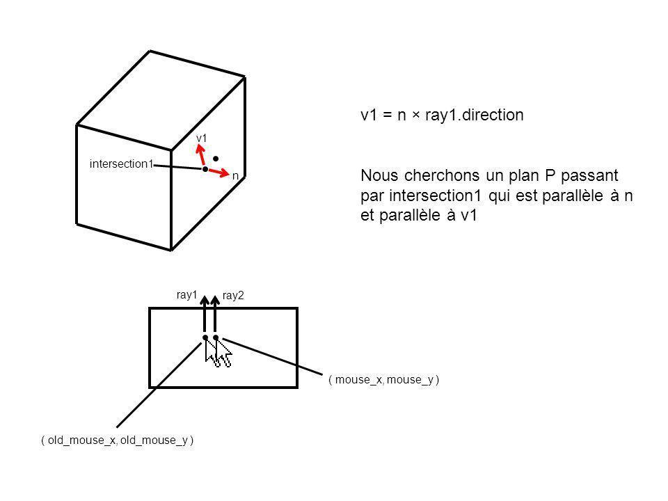 ( old_mouse_x, old_mouse_y ) ( mouse_x, mouse_y ) ray1 n v1 v2 ray2 intersection1 v2 = n × v1 Nous cherchons un plan P passant par intersection1 qui est perpendiculaire à v2