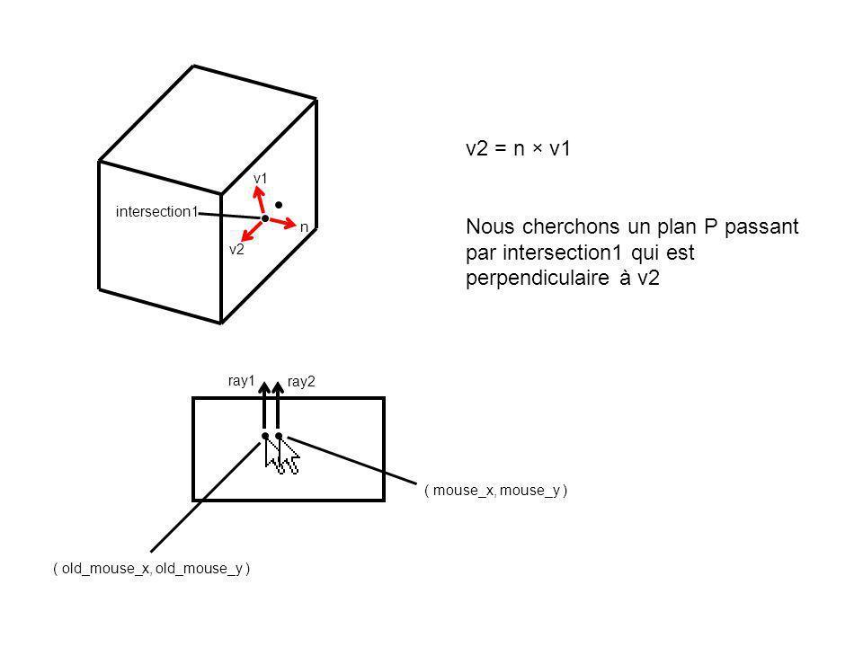 ( old_mouse_x, old_mouse_y ) ( mouse_x, mouse_y ) ray1 n v1 v2 ray2 intersection1 Voici le plan P passant par intersection1, perpendiculaire à v2, et parallèle à n et parallèle à v1