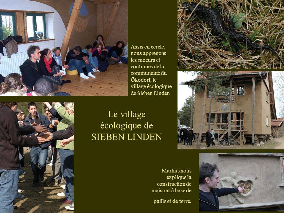 Assis en cercle, nous apprenons les moeurs et coutumes de la communauté du Ökodorf, le village écologique de Sieben Linden Markus nous explique la construction de maisons à base de paille et de terre.