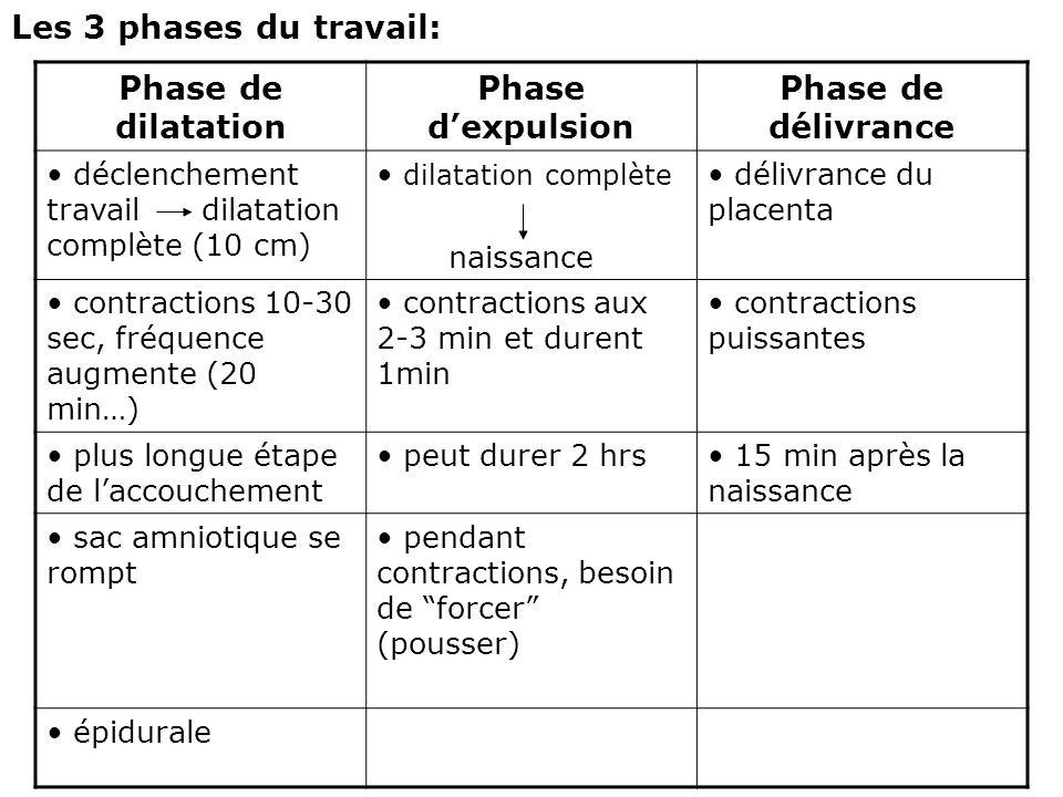 Les 3 phases du travail: Phase de dilatation Phase d'expulsion Phase de délivrance déclenchement travail dilatation complète (10 cm) dilatation complè