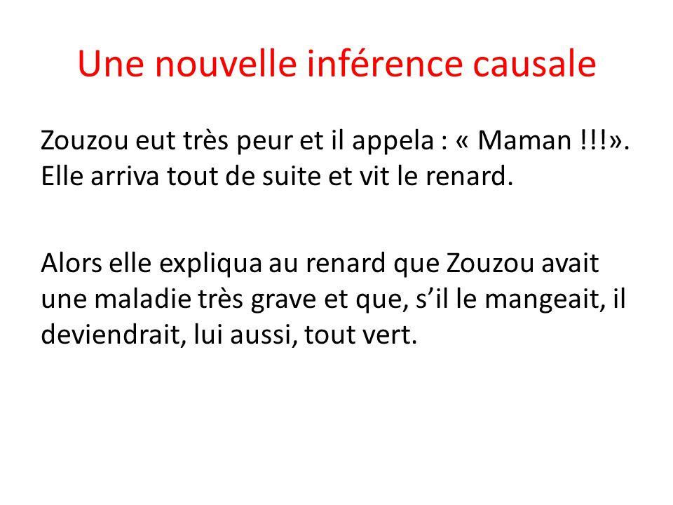 Une nouvelle inférence causale Zouzou eut très peur et il appela : « Maman !!!».