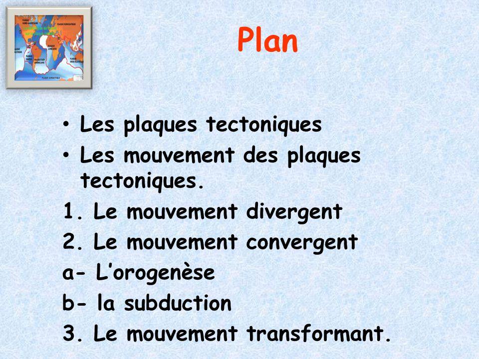 Plan Les plaques tectoniques Les mouvement des plaques tectoniques. 1. Le mouvement divergent 2. Le mouvement convergent a- L'orogenèse b- la subducti