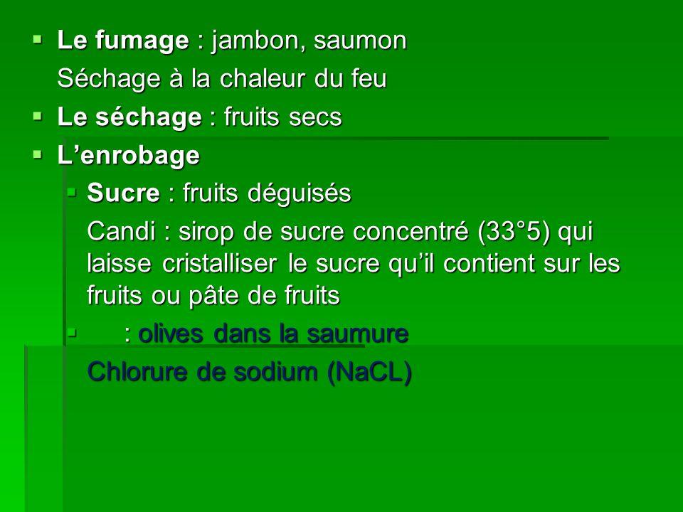  Le fumage : jambon, saumon Séchage à la chaleur du feu  Le séchage : fruits secs  L'enrobage  L'enrobage  Sucre : fruits déguisés Candi : sirop