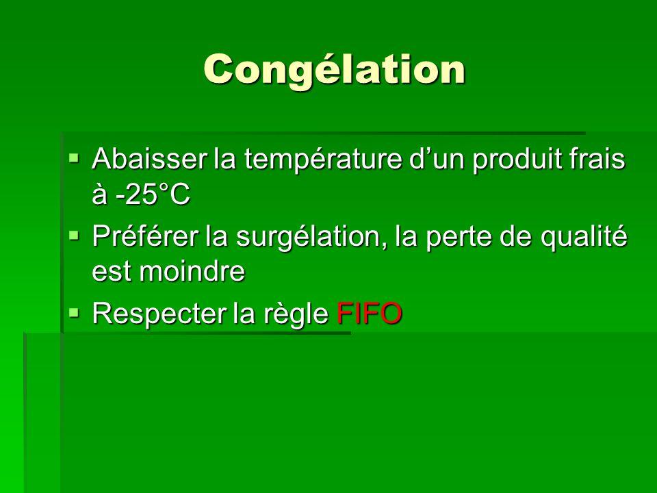 Congélation  Abaisser la température d'un produit frais à -25°C  Préférer la surgélation, la perte de qualité est moindre  Respecter la règle FIFO