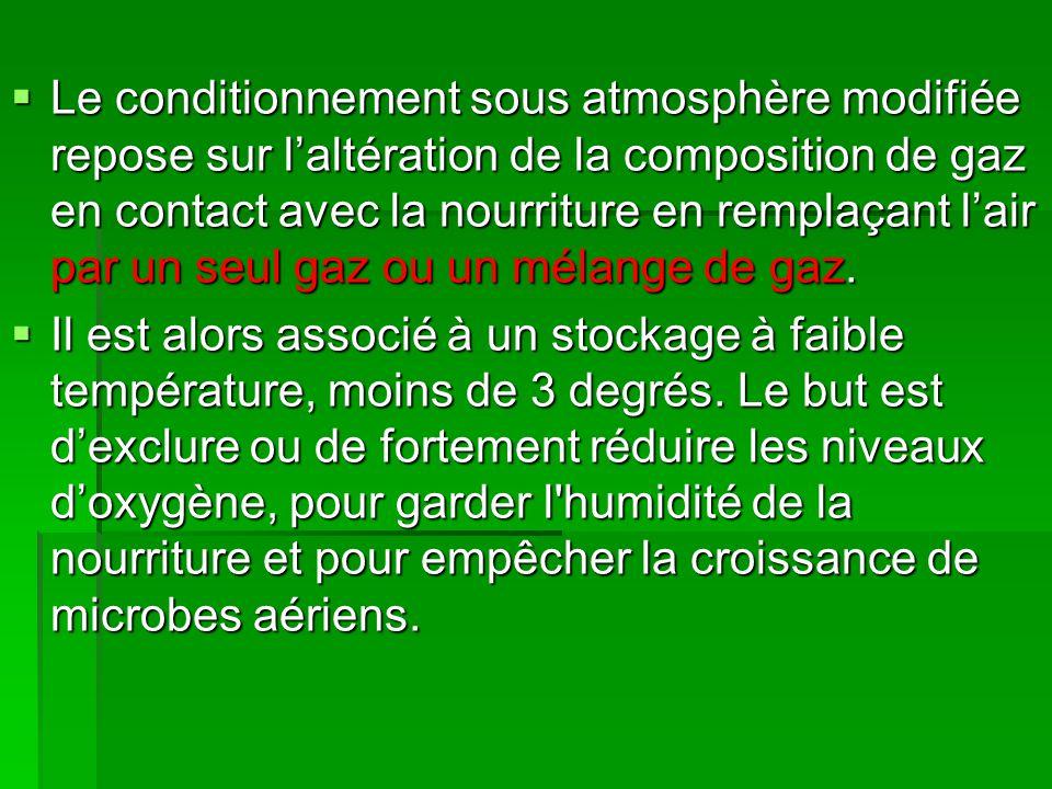  Le conditionnement sous atmosphère modifiée repose sur l'altération de la composition de gaz en contact avec la nourriture en remplaçant l'air par u