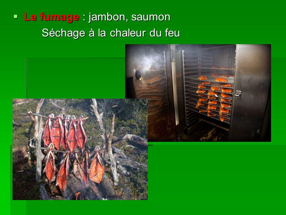  Le fumage : jambon, saumon Séchage à la chaleur du feu  Le séchage : fruits secs  L'enrobage  L'enrobage  Sucre : fruits déguisés  Candi : sirop de sucre concentré (33°5) qui laisse cristalliser le sucre qu'il contient sur les fruits ou pâte de fruits  Sel : olives dans la saumure Chlorure de sodium (NaCL)  L'huile et la graisse : anchois, gésiers confits  Vinaigre : cornichons