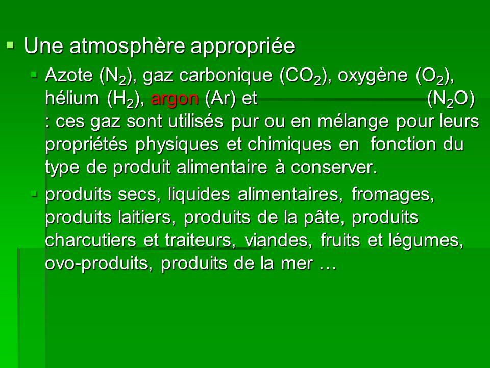  Une atmosphère appropriée  Azote (N 2 ), gaz carbonique (CO 2 ), oxygène (O 2 ), hélium (H 2 ), argon (Ar) et (N 2 O) : ces gaz sont utilisés pur o