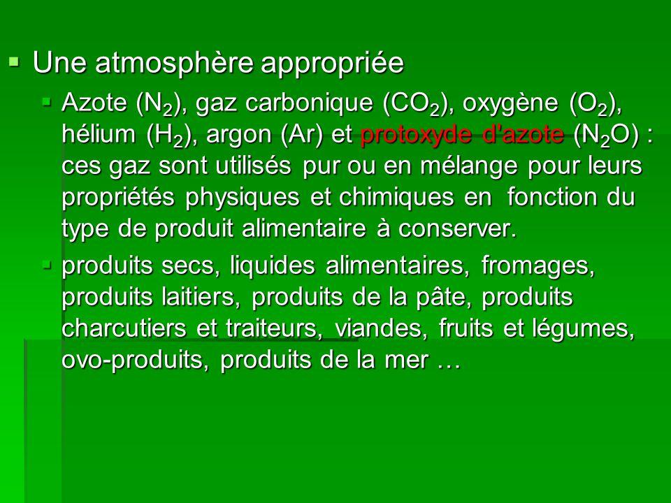  Une atmosphère appropriée  Azote (N 2 ), gaz carbonique (CO 2 ), oxygène (O 2 ), hélium (H 2 ), argon (Ar) et protoxyde d'azote (N 2 O) : ces gaz s