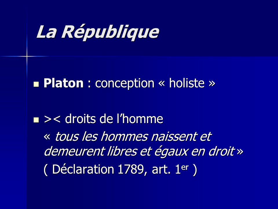 Platon : conception « holiste » Platon : conception « holiste » > < droits de l'homme « tous les hommes naissent et demeurent libres et égaux en droit
