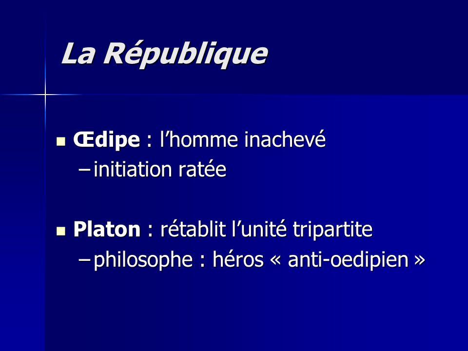 Œdipe : l'homme inachevé Œdipe : l'homme inachevé –initiation ratée Platon : rétablit l'unité tripartite Platon : rétablit l'unité tripartite –philoso