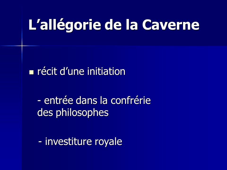 L'allégorie de la Caverne récit d'une initiation récit d'une initiation - entrée dans la confrérie des philosophes - investiture royale - investiture