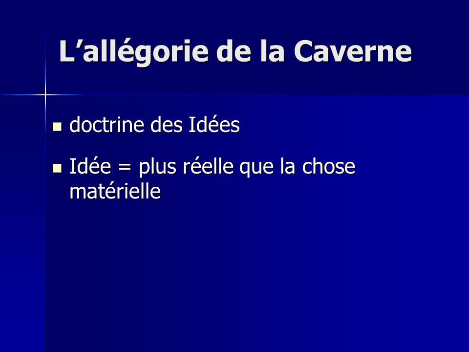 doctrine des Idées doctrine des Idées Idée = plus réelle que la chose matérielle Idée = plus réelle que la chose matérielle L'allégorie de la Caverne