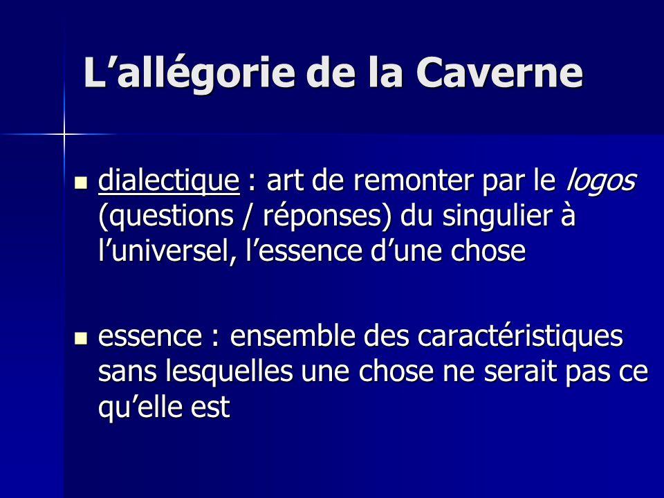 dialectique : art de remonter par le logos (questions / réponses) du singulier à l'universel, l'essence d'une chose dialectique : art de remonter par