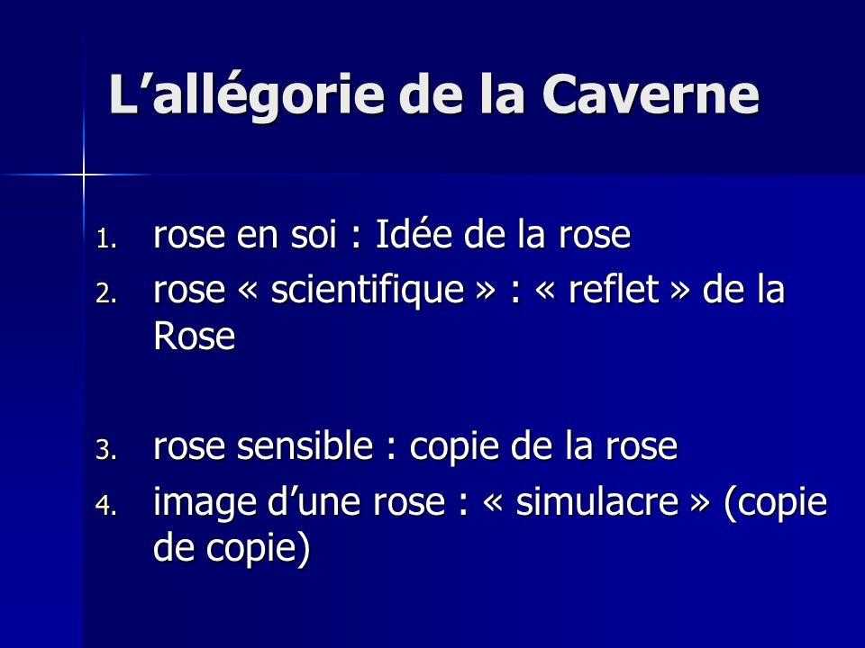 1. rose en soi : Idée de la rose 2. rose « scientifique » : « reflet » de la Rose 3. rose sensible : copie de la rose 4. image d'une rose : « simulacr
