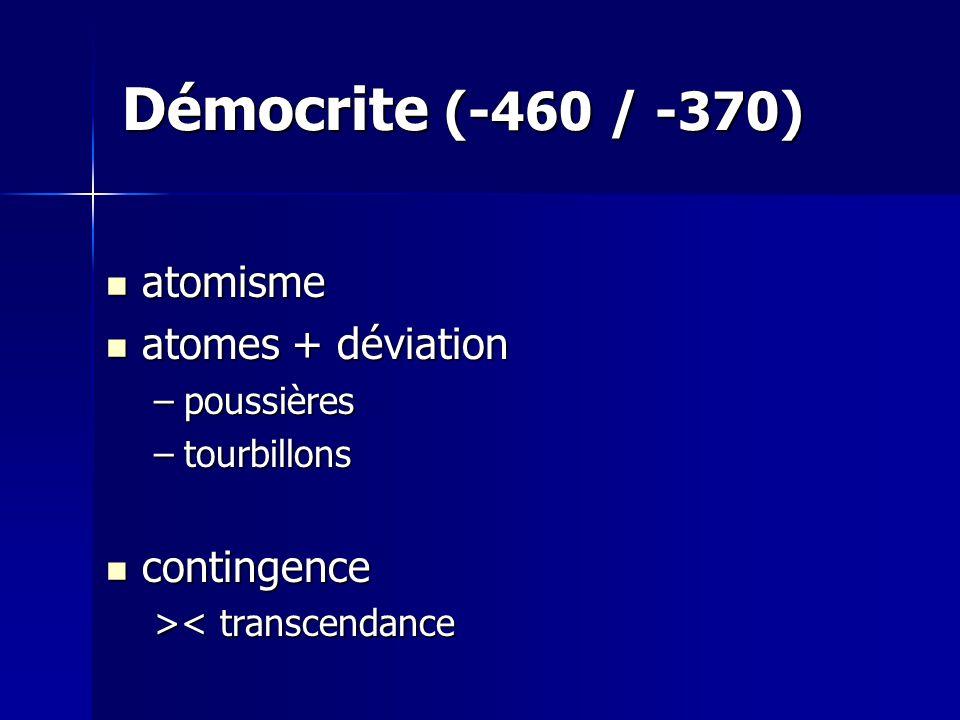 Démocrite (-460 / -370) atomisme atomisme atomes + déviation atomes + déviation –poussières –tourbillons contingence contingence > < transcendance