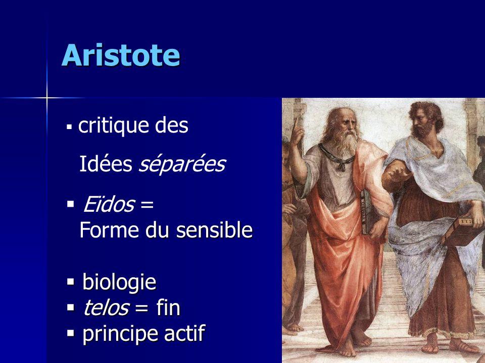 Aristote  critique des Idées séparées  Eïdos = du sensible Forme du sensible  biologie  telos = fin  principe actif