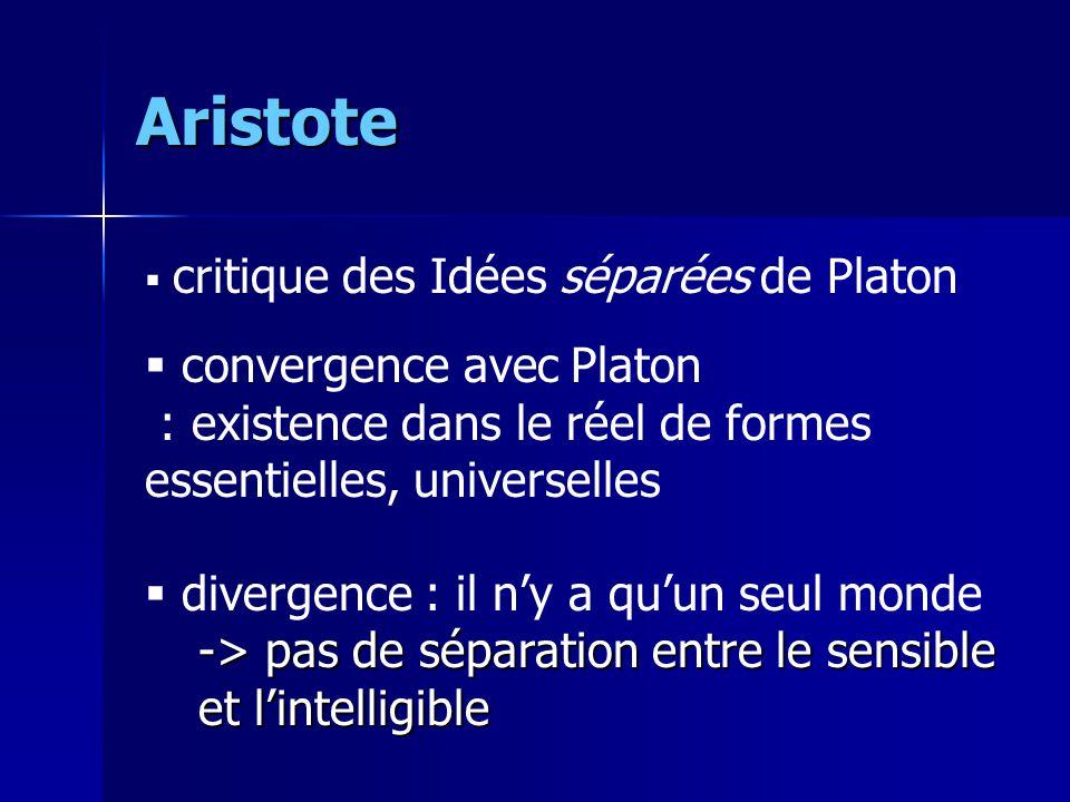 Aristote  critique des Idées séparées de Platon  convergence avec Platon : existence dans le réel de formes essentielles, universelles  divergence