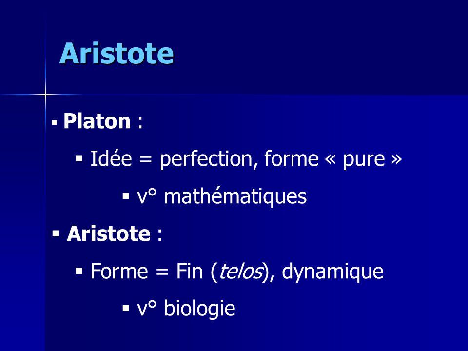 Aristote  Platon :  Idée = perfection, forme « pure »  v° mathématiques  Aristote :  Forme = Fin (telos), dynamique  v° biologie