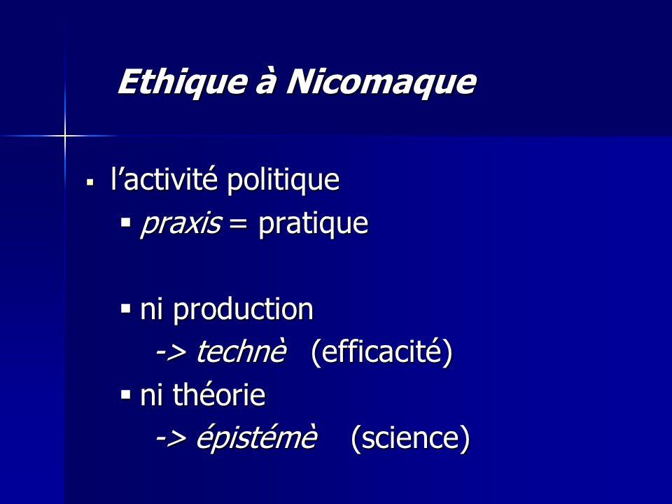  l'activité politique  praxis = pratique  ni production -> technè (efficacité)  ni théorie -> épistémè (science) Ethique à Nicomaque