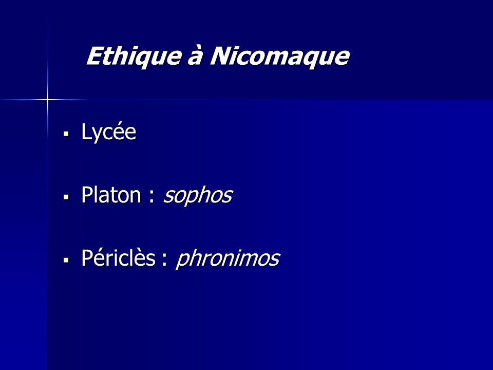  Lycée  Platon : sophos  Périclès : phronimos Ethique à Nicomaque