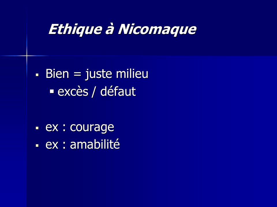  Bien = juste milieu  excès / défaut  ex : courage  ex : amabilité Ethique à Nicomaque
