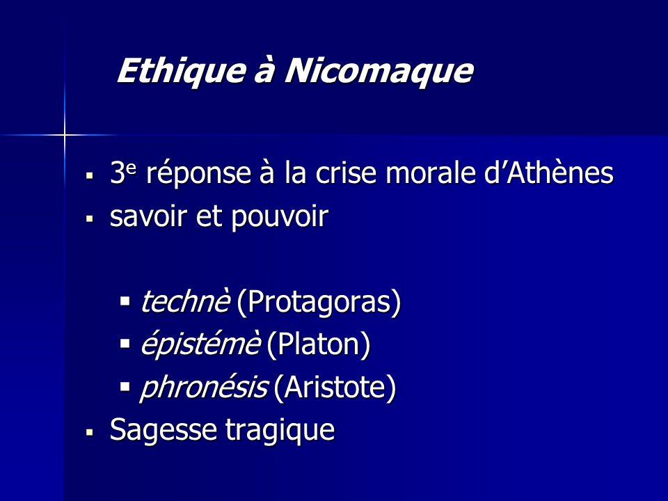  3 e réponse à la crise morale d'Athènes  savoir et pouvoir  technè (Protagoras)  épistémè (Platon)  phronésis (Aristote)  Sagesse tragique Ethi
