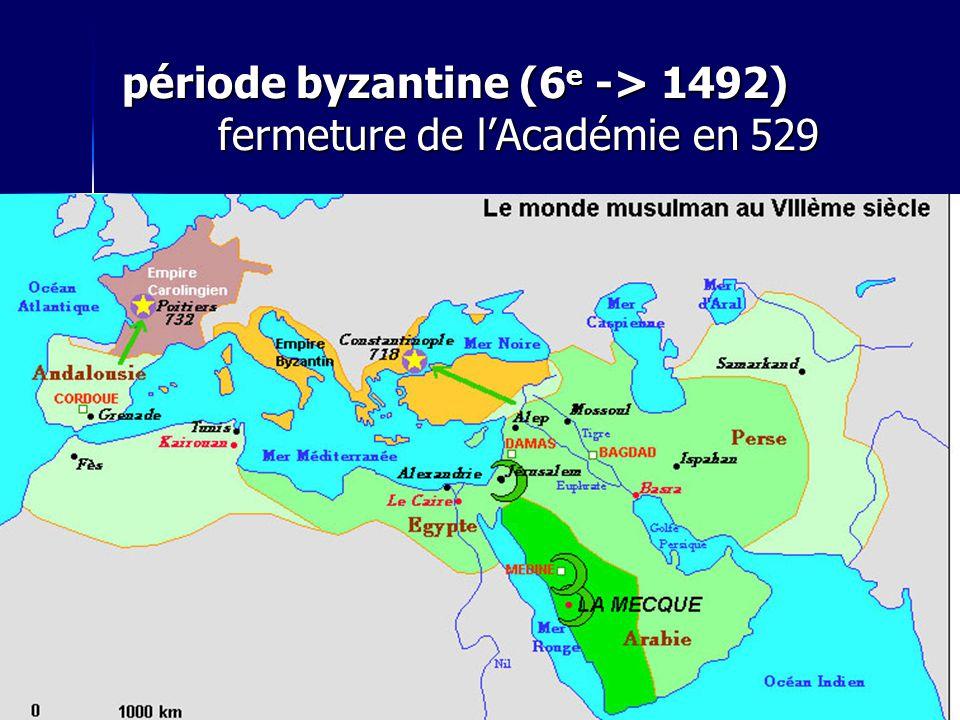 période byzantine (6 e -> 1492) fermeture de l'Académie en 529  période romaine (476)  Empire byzantin (6 e -> 1492)  Cordoue  autonomie de la pen