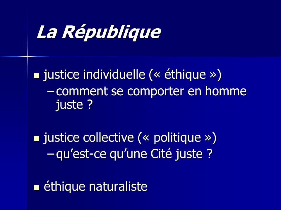 La République justice individuelle (« éthique ») justice individuelle (« éthique ») –comment se comporter en homme juste ? justice collective (« polit