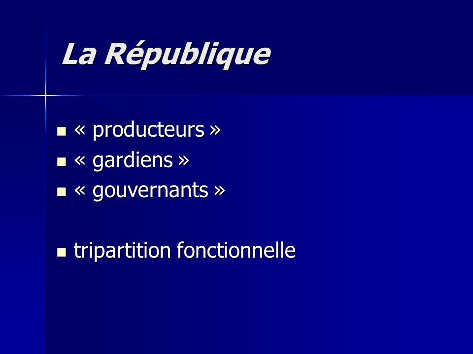 « producteurs » « producteurs » « gardiens » « gardiens » « gouvernants » « gouvernants » tripartition fonctionnelle tripartition fonctionnelle La Rép