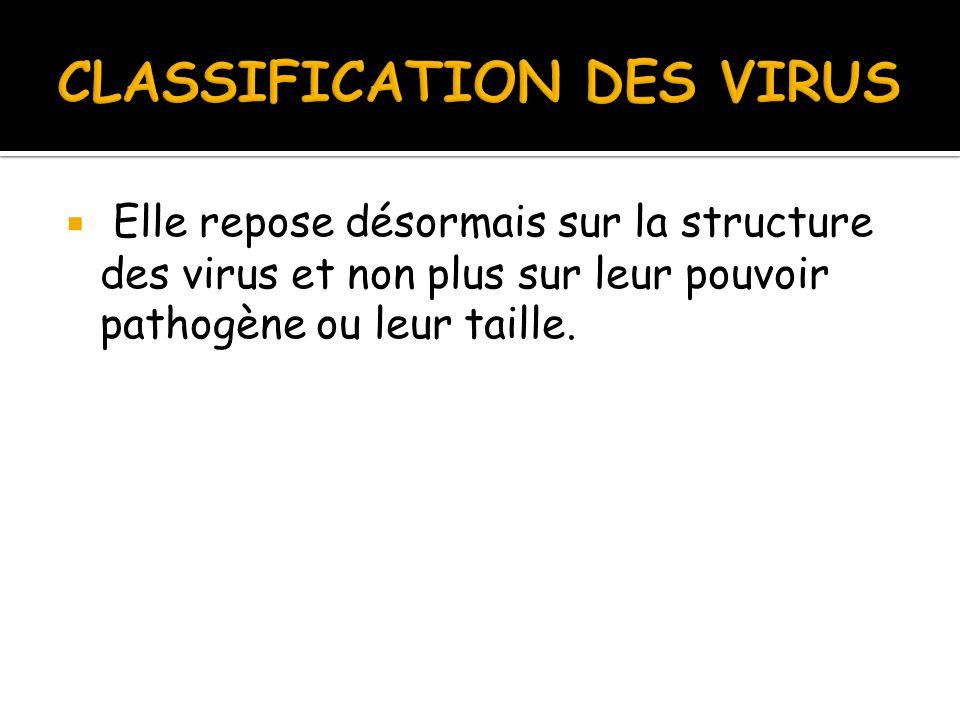  Elle repose désormais sur la structure des virus et non plus sur leur pouvoir pathogène ou leur taille.