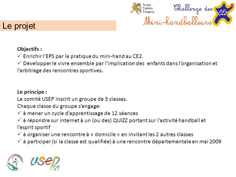 Le projet Objectifs :  Enrichir l'EPS par la pratique du mini-hand au CE2.  Développer le vivre ensemble par l'implication des enfants dans l'organi