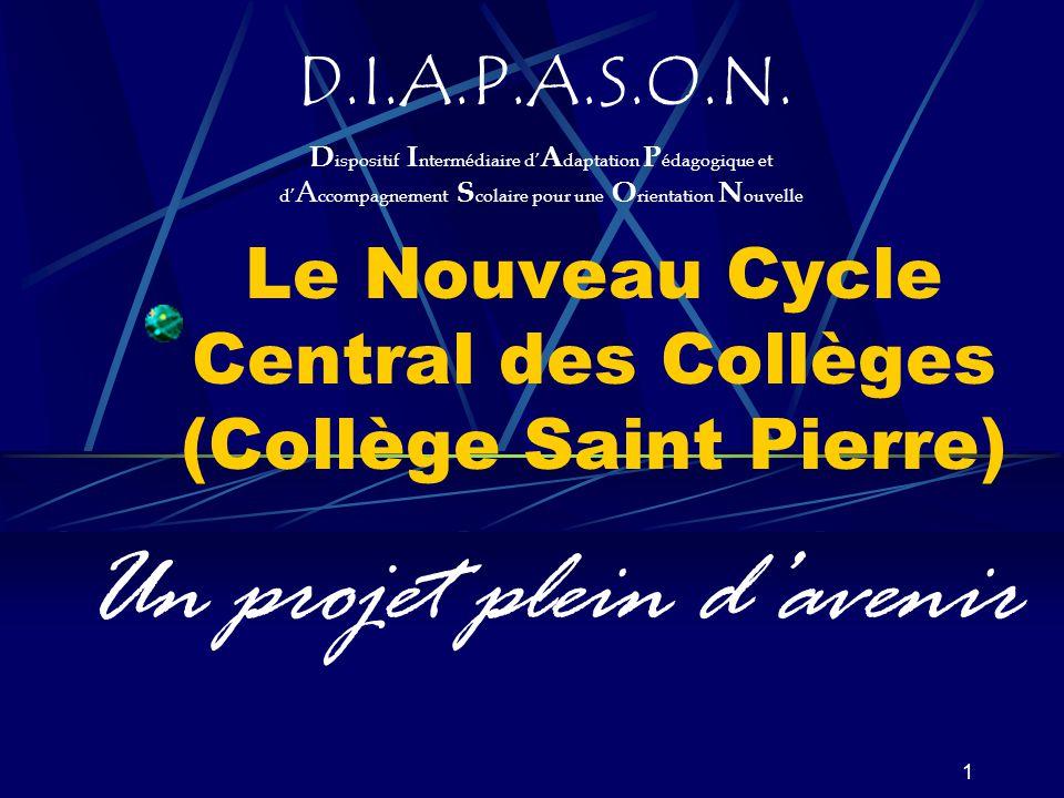 1 Le Nouveau Cycle Central des Collèges (Collège Saint Pierre) Un projet plein d'avenir D.I.A.P.A.S.O.N.